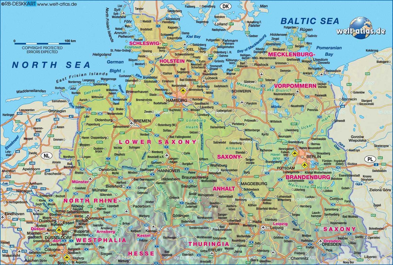 karta över norra tyskland Norra Tyskland karta   Karta över norra Tyskland (Västra Europa  karta över norra tyskland